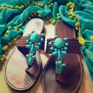Beverly Feldman Turquoise Jeweled Sandals